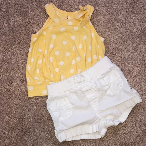 Children's Place Other - Girls Yellow Polka Dot Shirt & White Short Outfit
